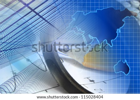 Business background with graph, ruler, pencil, buildings and magnifier. - stock photo