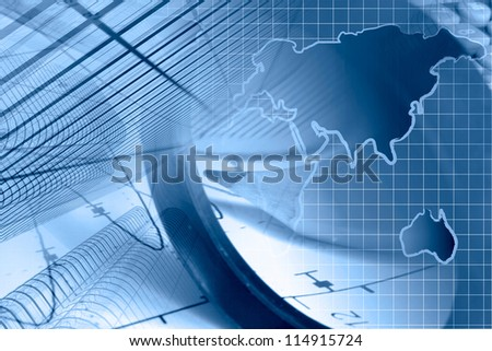 Business background with graph, ruler, pencil, buildings and magnifier, in blues. - stock photo