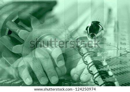 Business background with hands, buildings and mail signs, in greens. - stock photo