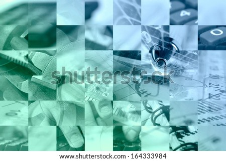 Business background with hands, electronic device and digits, in blues and greens. - stock photo