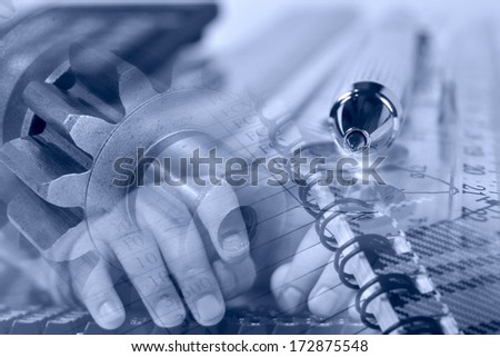 Business background with hands, gears and graph, in blues. - stock photo