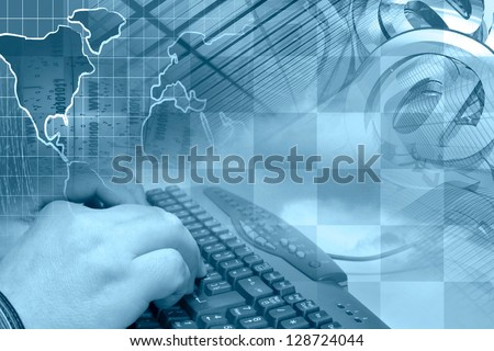 Business background with hands, keyboard and mail signs, in blues. - stock photo