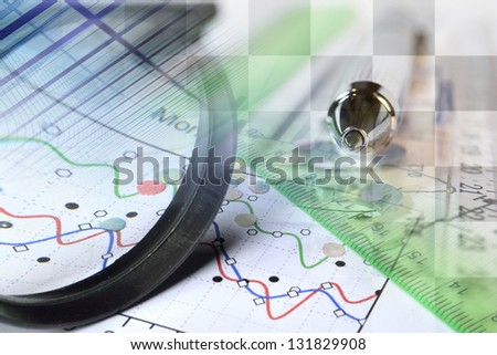 Business background with magnifier, ruler and pen. - stock photo