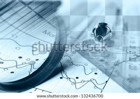 Business background with magnifier, ruler and pen, blue toned. - stock photo