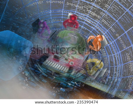 Business background with mans, globe and digits. - stock photo