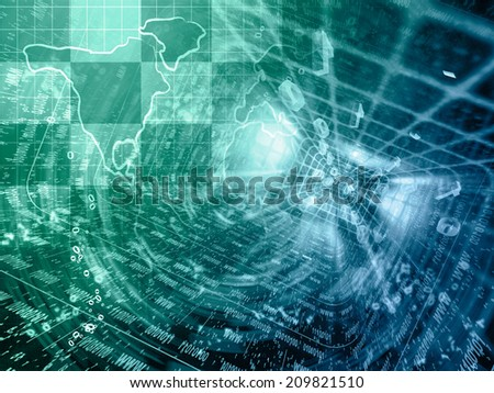Business background with map and digits, in greens and blues. - stock photo