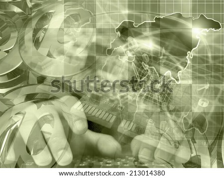 Business background with map, electronic device and mail signs, in sepia. - stock photo