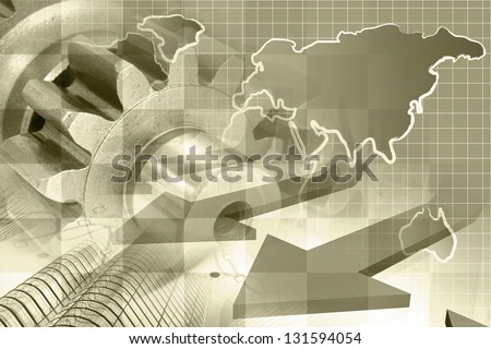 Business background with map, gear and buildings, sepia toned. - stock photo