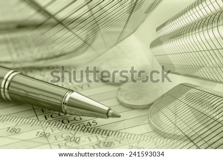 Business background with money, buildings and pen, in sepia. - stock photo
