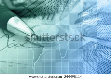 Business background with money, graph and buildings, in greens and blues. - stock photo