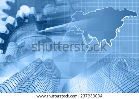 Business background with money, map and pen, blue toned. - stock photo