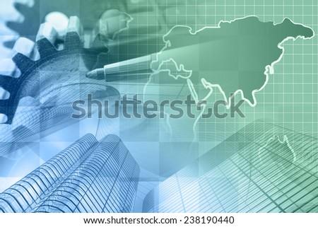 Business background with money, map and pen, in greens and blues. - stock photo