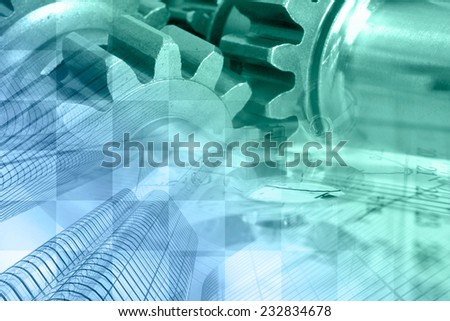 Business background with office buildings and gears, in greens and blues. - stock photo