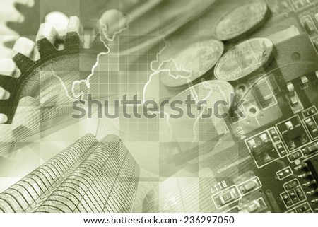 Business background with office buildings and gears, sepia toned. - stock photo