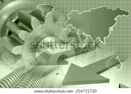 Business background with office buildings, arrows, map and gears, sepia toned. - stock photo