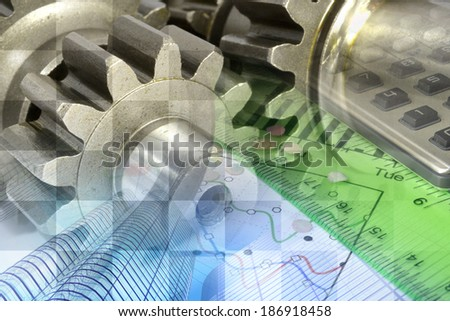 Business background with ruler, gear and table. - stock photo