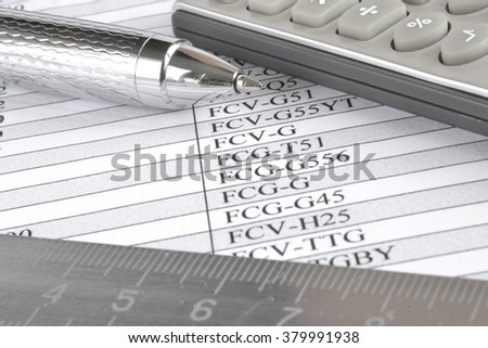 Business background with table, ruler, pen and calculator. - stock photo