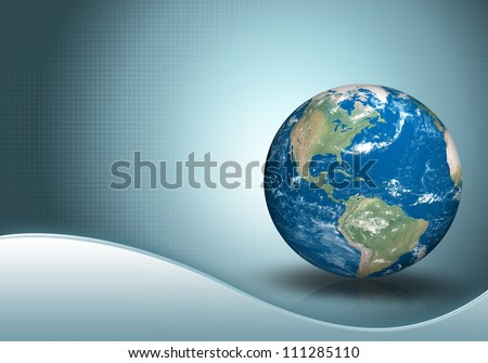 business background with three dimensional original like planet earth (3D render of Planet Earth. Earth texture map source : http://www.shadedrelief.com/natural3/pages/textures.html) - stock photo