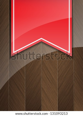 Business background with wood insertion and a red vintage ribbon (Raster)