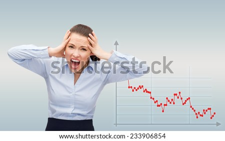 business, bankruptcy, desperation, people and stress concept - angry screaming businesswoman over gray background and forex graph going down - stock photo