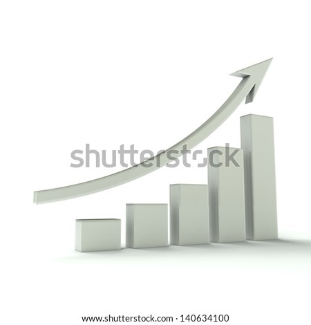 Business Bar graph white - stock photo