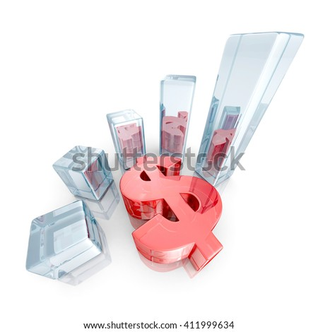 business bar graph with red dollar currency symbol. finance success concept 3d render illustration - stock photo