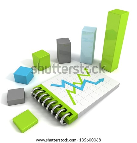 Business bar graph with success and crisis arrows on note paper book - stock photo