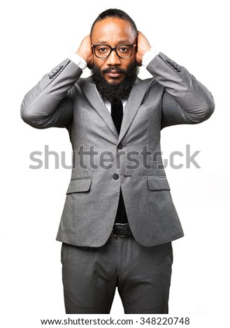 business black man covering his ears - stock photo