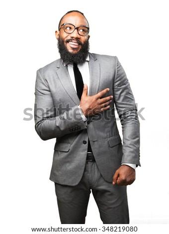 business black man in love - stock photo