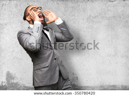 business black man shouting - stock photo
