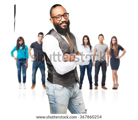 business black man smiling - stock photo