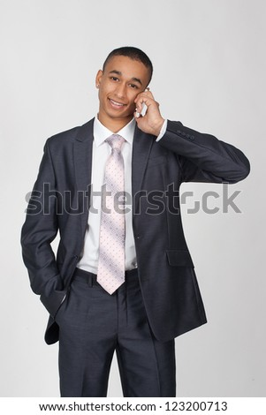 business black man with cellphone