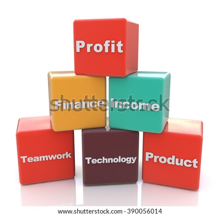 Business Blocks in the design of information related to business development strategy - stock photo