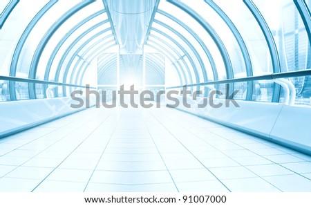 business blue corridor - stock photo