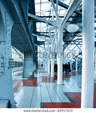 business blue international hallway - stock photo