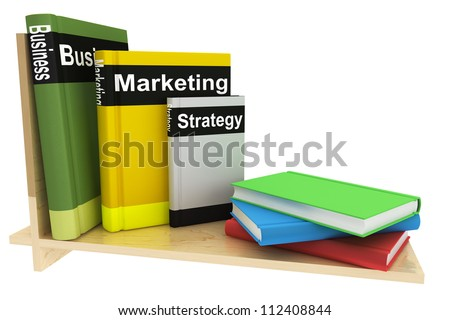 Business Books with bookshelf on a white background