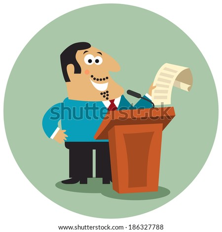 Business boss character with paper document at tribune with microphone on public conference concept isolated  illustration