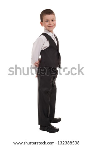 business boy on white isolated - stock photo