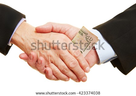 Business bribery and corruption with dollar bill in handshake