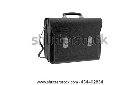 Business briefcase, black leather flapover isolated on white background, 3D illustration