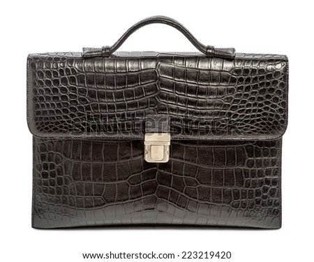 business briefcase made �¢??�¢??of genuine crocodile leather - stock photo