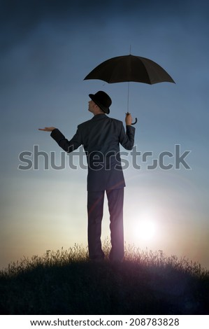 business bright outlook concept businessman feeling for rain - stock photo