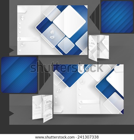 Business Brochure Template Design With White Square Elements - stock photo