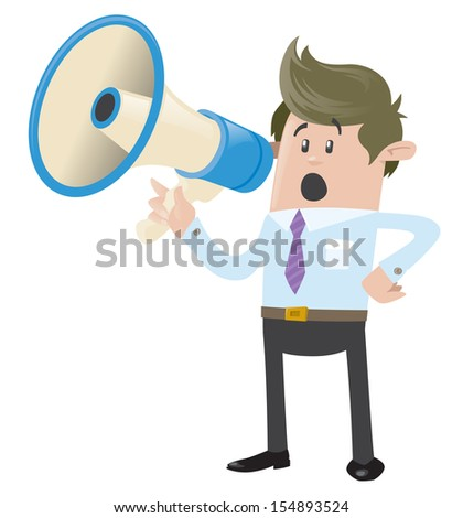 Business Buddy with Loudspeaker  - stock photo