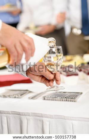 Business buffet lunch caterer serve wine appetizer company meeting - stock photo