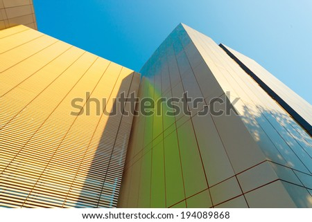 Business building against sky, abstract high-tech illustration - stock photo