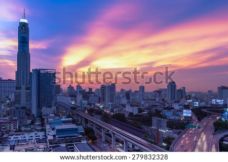 Business Building Bangkok city area at night life with transportation way, logistic concept high angle bird eyes view - stock photo