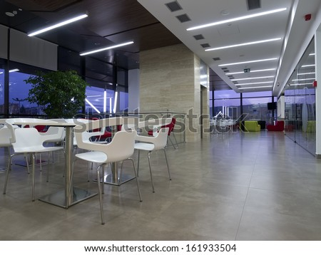 Business building cafe interior  - stock photo