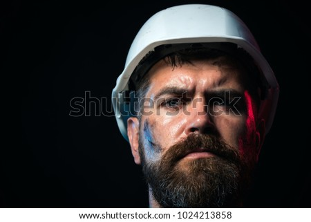 Business, building concept - smiling builder in hard hat. Portrait of mechanical worker. Close up engineers working. Portrait of handsome engineer. Construction worker in hard hat.