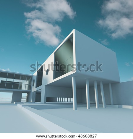 Business building structure. High quality 3d render
